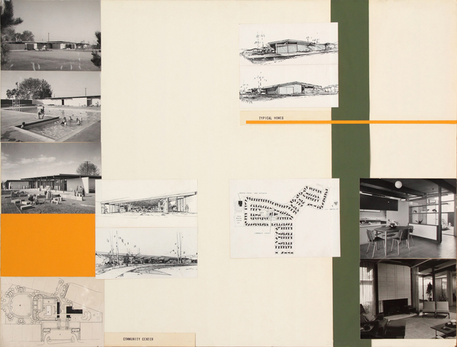 , 'Presentation panel for Joseph Eichler Homes and Greenmeadow Community Center, Palo Alto, CA with vintage original photographs by Russell Illig and reproductions of site plan,' 1955, Edward Cella Art and Architecture
