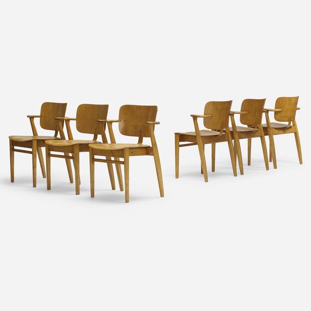 Ilmari Tapiovaara, 'Domus stacking chairs, set of six', 1946, Wright