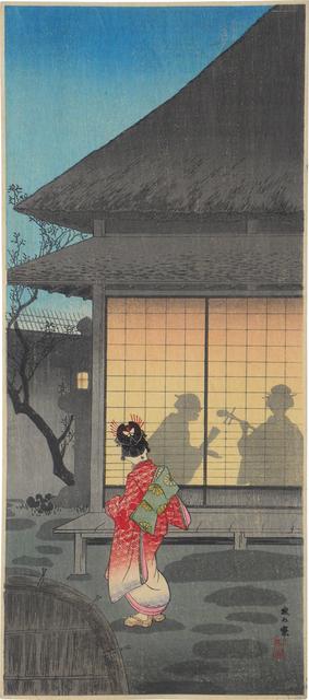 Hiroaki Takahashi (Shotei), 'Tea Pavilion in the Night', ca. 1927-35, Print, Woodblock print, Scholten Japanese Art
