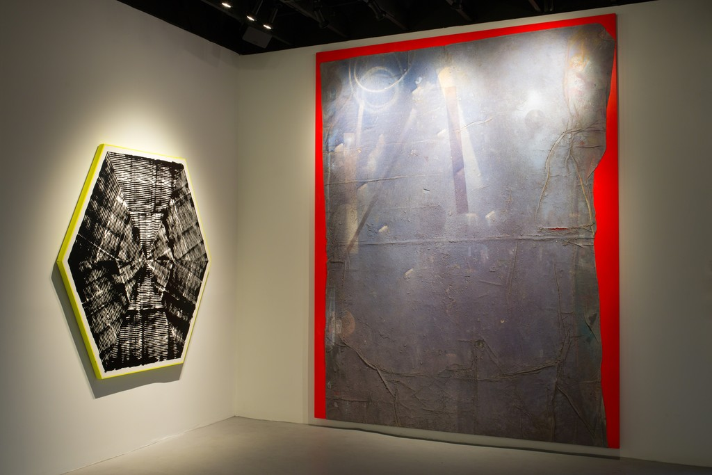 Jason REVOK - Self Portrait (2013-2016) Synthetic polymer on linen dropcloth mounted on canvas 137h x 108w in (347.98h x 274.32w cm)   Jason REVOK Kundalini (Hexagon) Loop Painting , 2016 Synthetic polymer and oil enamel on canvas 72 x 72 in (182.88h x 182.88w cm)