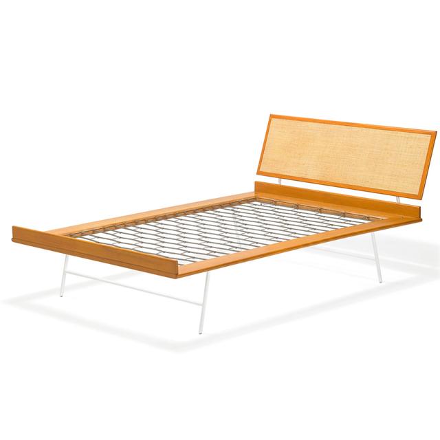 George Nelson, 'Thin Edge full-size bed, Zeeland, MI', Design/Decorative Art, Enameled steel, birch, grass cloth, Rago/Wright