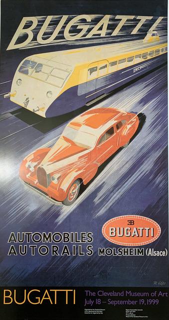 POSTER BUGATTI AUTOMOBILE LUXURY YELLOW CAR VINTAGE REPRO FREE S//H