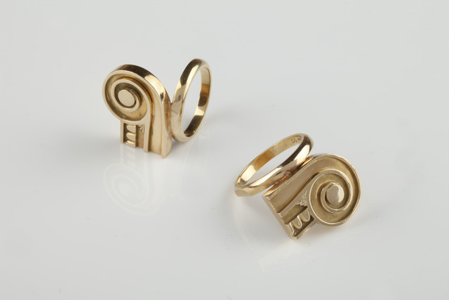 , 'Pair of capital gold rings,' 1984-1986, Didier Ltd.