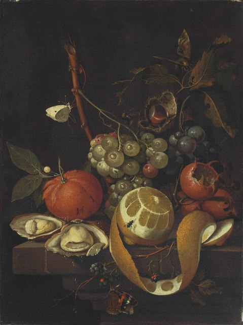 , 'Grapes, a lemon, oysters, a chestnut, blackberries and other citrus fruits on a stone ledge with butterflies, a fly, a bee and ants,' , Christie's Old Masters
