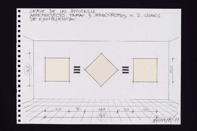 , 'Anteproyecto para tres monocromos y dos signos de equivalencia,' 2011, Henrique Faria Fine Art