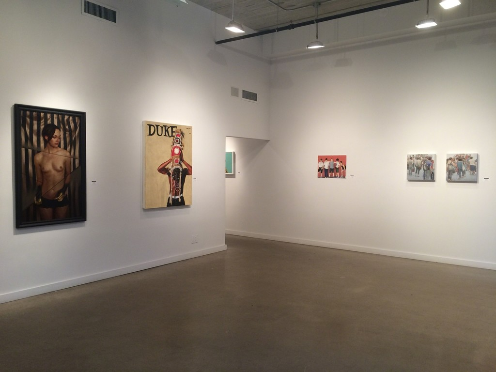 "From left: Aaron Nagel ""Axes"", Fahamu Pecou ""Crown.Royal"", Cobi Moules ""Untitled (Summer Shoot 4). Mary Henderson ""Marchers I and II"""