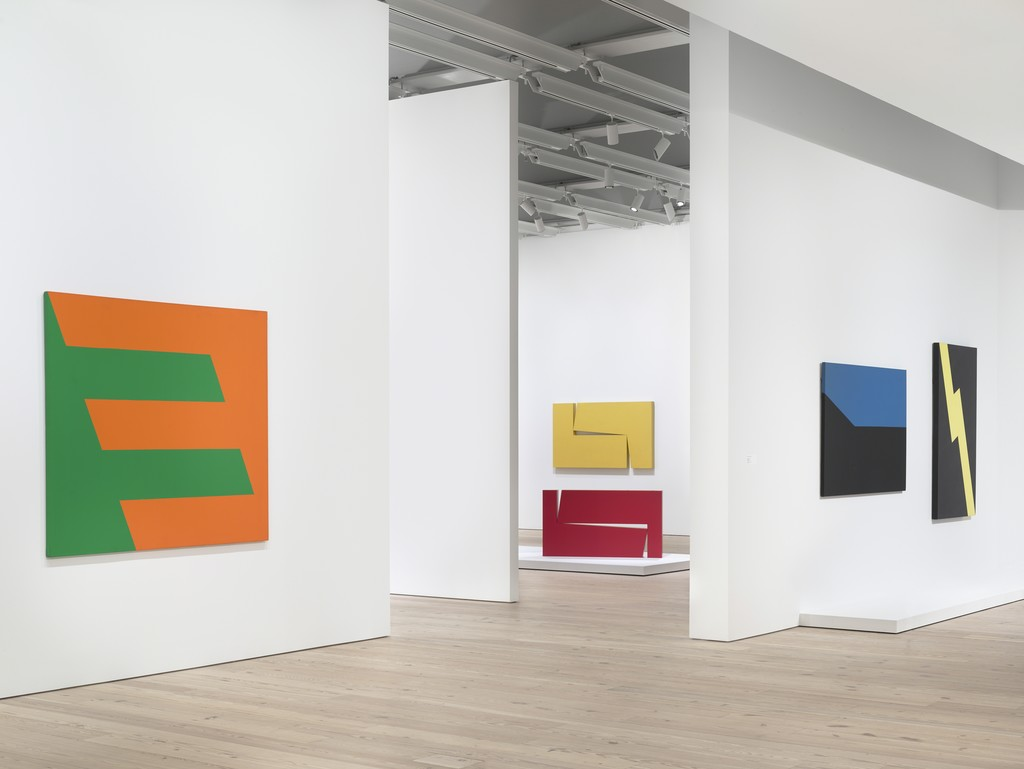 Installation view of Carmen Herrera: Lines of Sight (Whitney Museum of American Art, New York, September 16, 2016—January 2, 2017). Photography by Ronald Amstutz