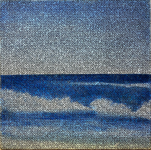 robbin murphy, 'Untitled, Xenophon, Ocean', 1990, Painting, Acrylic on canvas with xerox transfer collage, Woodward Gallery