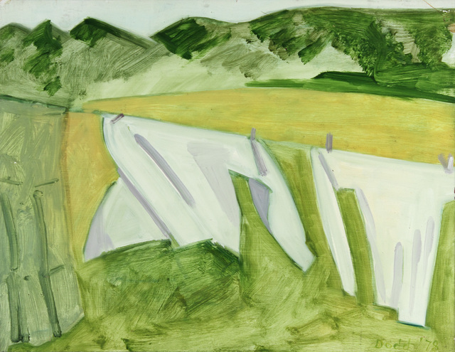 Lois Dodd, 'Two White Sheets and Green Skirt at Left', 1978, Painting, Oil on Masonite, Alexandre Gallery