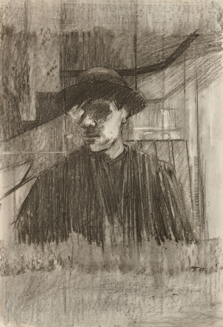 David Tindle, 'Self-portrait in a mirror', 1963, Drawing, Collage or other Work on Paper, Charcoal, Liss Llewellyn