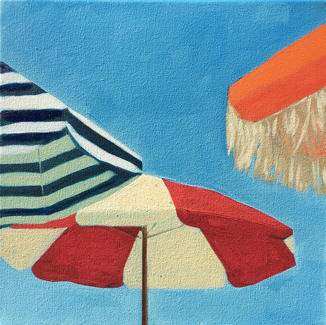 ", '""Three Umbrellas"" Brightly Colored Painting of Beach Umbrellas on a Sunny Day,' 2010-2018, Eisenhauer Gallery"