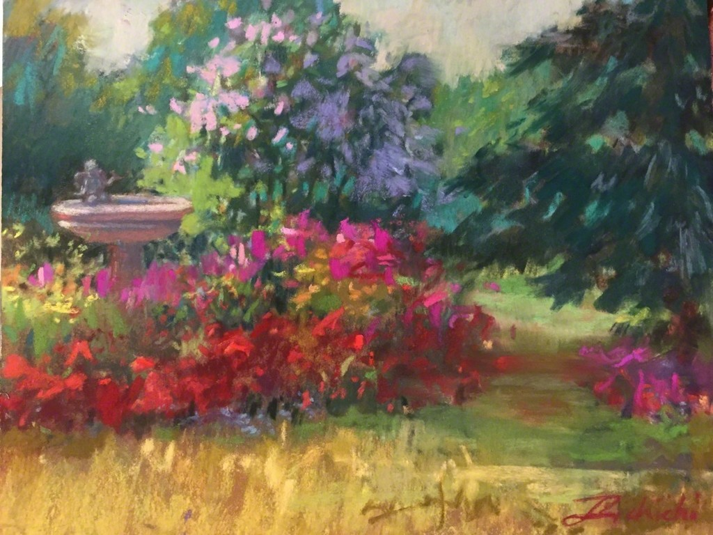 """""""Angel in the Birdbath,"""" Pastel on paper, 8 x 10  """"I've always loved gardening and painting gardens. They are filled with glorious colors that last for a season. However, the paintings last for generations."""" -Linda Richichi"""