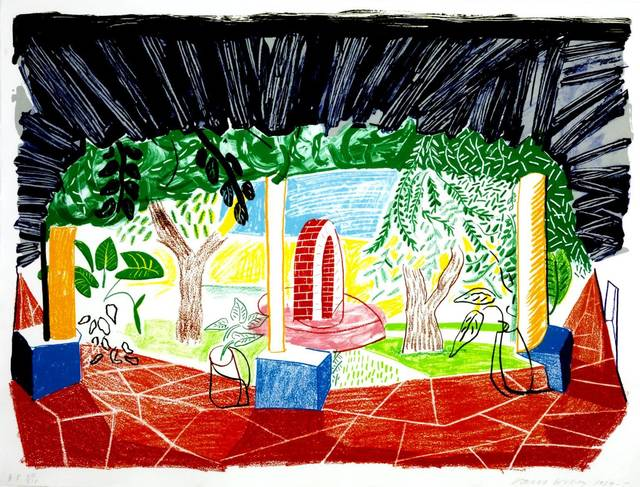 David Hockney, 'View Of Hotel Well I', 1985, Timothy Yarger Fine Art