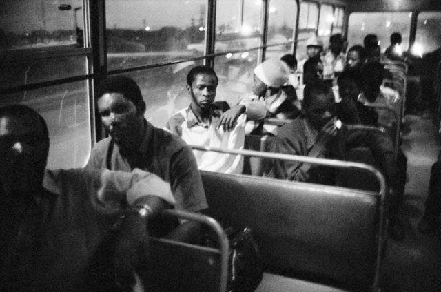 , '7:00 pm. Going home: Pulling out of Pretoria. The 7:00 pm bus from Marabastad to Waterval in KwaNdebele,' 1983, Pace/MacGill Gallery