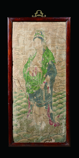 , 'A Polychrome Fresco Fragment of Rectangular Form Painted with a Figure of Guanyin Standing on a Leaf-form Base Set 宋|西夏 灰泥彩繪飛觀音壁畫殘部,' China: Song|Xi Xia Dynasty (1038-1227), Rasti Chinese Art