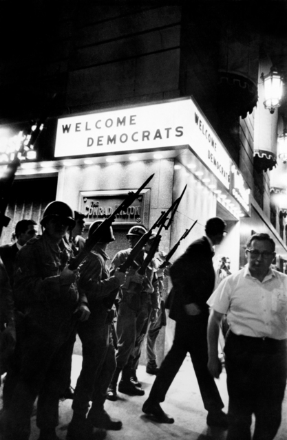 ", '""Welcome Democrats"", Democratic Convention, Hilton Hotel, Chicago, 1968,' , Monroe Gallery of Photography"