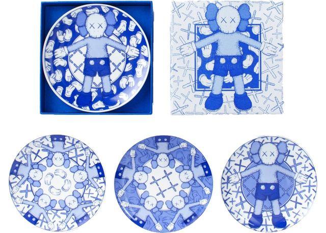 KAWS, 'Holiday Ceramic Plate (Set of 4) Blue/White', 2019, Lougher Contemporary