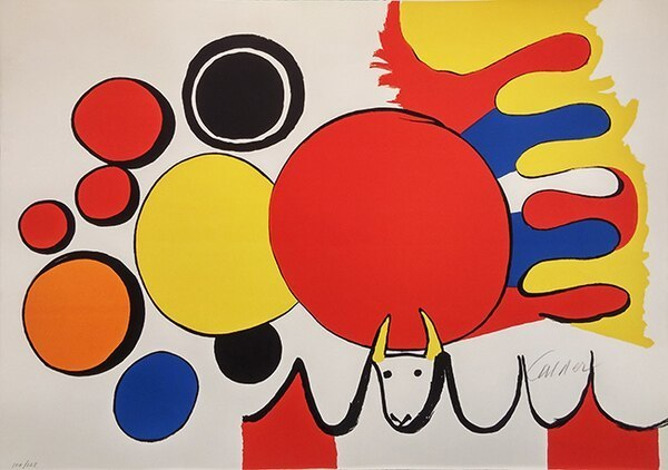 Alexander Calder, 'TAUREAU AVEC SPIRALE ROUGE (FROM POEMAS PARA MIRAR PORTFOLIO)', 1975, Kings Wood Art