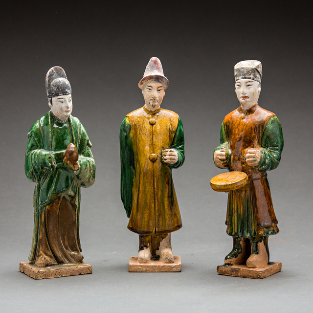Unknown Chinese, 'Set of Three Ming Glazed Terracotta Attendants', 1368-1644, Barakat Gallery