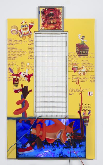 , 'crash bandicoot (and spyro fire mario, fire luigi, fire kirby, king dedede and aku aku),' 2017, Steve Turner
