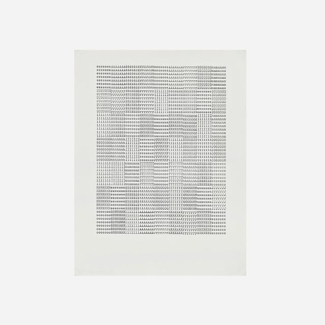 Carl Andre, 'eeeeeeeAAAAAAAdddddddWWWWWWWeeeeeeeAAAAAAArrrrrrrDD DDDDDmmmmmmm', 1972, Drawing, Collage or other Work on Paper, Xerox of ink on paper, Artsy x Rago/Wright