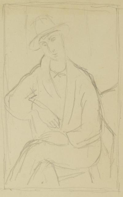 Marie Vorobieff Marevna, ''Portrait of Mario Varvogli', (recto), after Modigliani, reclining nude (verso)', c.1919, Roseberys