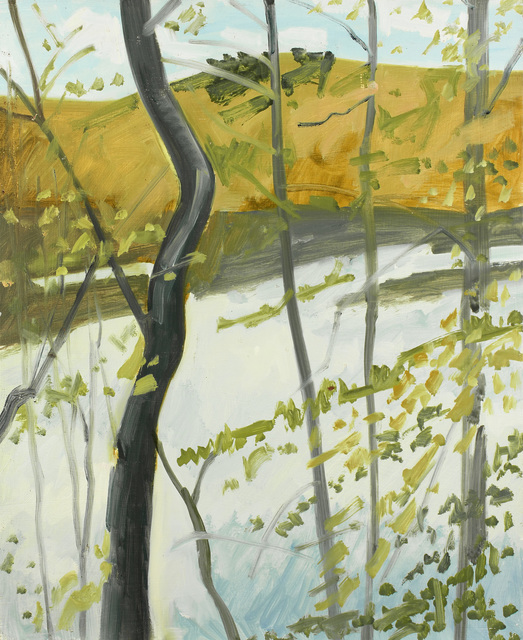 Lois Dodd, 'Pondside', 1980, Painting, Oil on Masonite, Alexandre Gallery