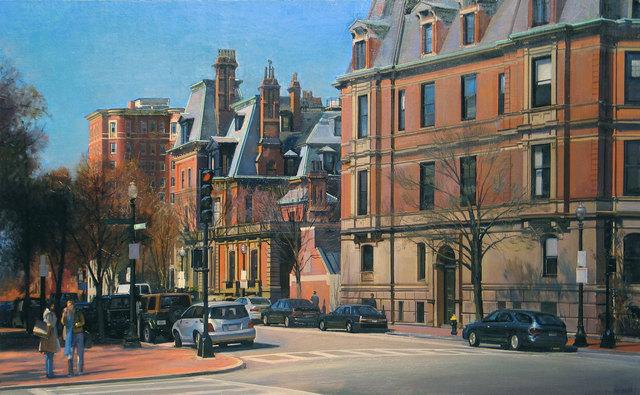 Joel Babb, 'Corner of Dartmouth Street, Back Bay, Boston', 2005, Painting, Oil on linen mounted to masonite, Vose Galleries