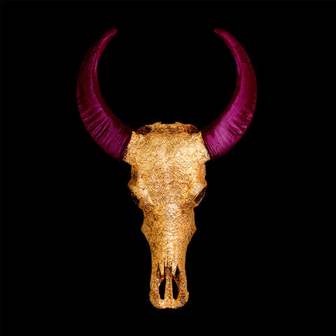 Angela Morris-Winmill, 'Chinese Water Buffalo Skull – Gold Lace with Plum Horns on Black – Large', 2018, M1 Fine Art
