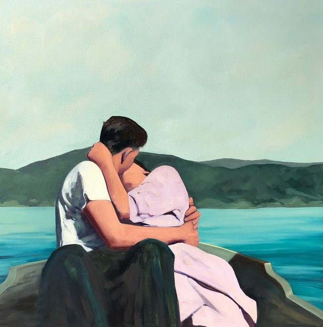 T.S. Harris, '''Summer Is For Lovers'' Oil painting of couple kissing on a boat in a blue lake with a mountain view ', 2019, Eisenhauer Gallery