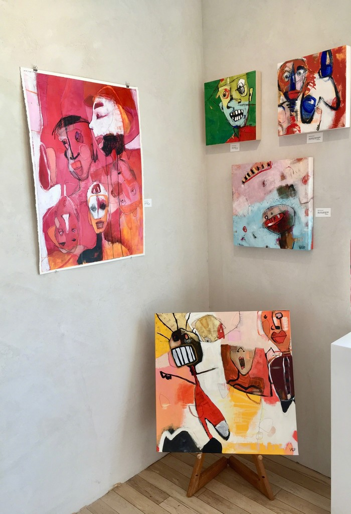 """On the left is a paperwork """"Beautiful Boy"""" by artist Vikki Drummond, the rest are acrylic on canvases. All these paintings are from the Series """"Little People in my Head""""."""