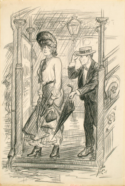 ", 'Don't you want—th'umbrella?, 1904, for ""The Steady,"" by Harvey J. O'Higgins,  in McClure's Magazine,' August 25-1905, Delaware Art Museum"