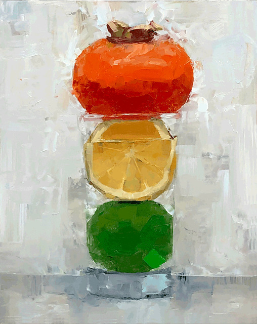 Tom Giesler, 'Floral 39: persimmon lemon lime', 2020, Painting, Oil on panel, McVarish Gallery