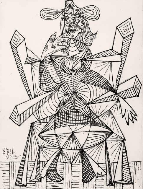 Pablo Picasso, 'Femme assise dans une chaise (Dora) (Woman Sitting in a Chair, Dora)', 1938, Drawing, Collage or other Work on Paper, Ink on paper, Fondation Beyeler