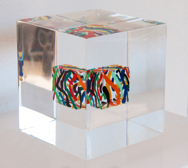 Susi Kramer, 'Dancing lines ', 2020, Sculpture, Painted cube cast in acrylic glass, Claudine Gil
