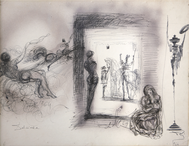 Salvador Dalí, 'Don Chisciotte, Evocazione di Dulcinea... rinunzio ai miei diritti di gentiluomo', 1964, Drawing, Collage or other Work on Paper, Black ball-point pen, brush and gray wash and aerography on card laid down on masonite, Opera Gallery