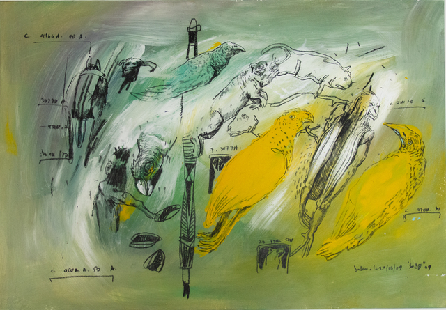 Soly Cissé, 'Bestiaire 21', 2009, Painting, Acrylics and oil pastel on paper, Art-Z Gallery