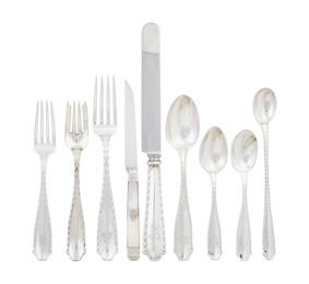 Assembled Tiffany & Co. Sterling Silver Flatware Service For 24, With Fitted Canteen