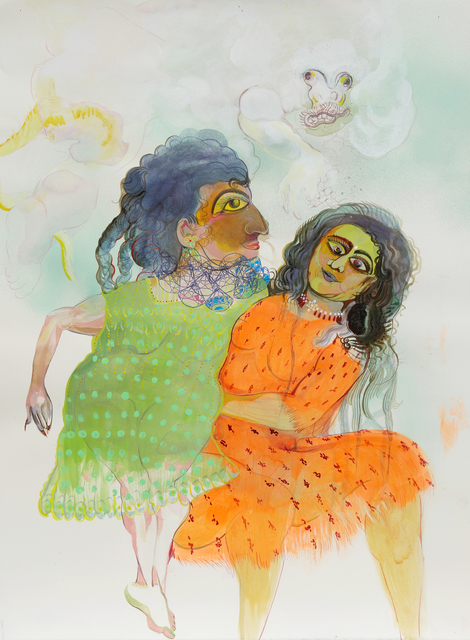 Rina Banerjee, 'Lifting her, Zarina up and away from Snow Monkey, stay and play bring our friendships not be blamed for histories that wishfully erase old age, Pale Snow Monkey can reclaim as messenger god be brave and stay', 2019, Hosfelt Gallery