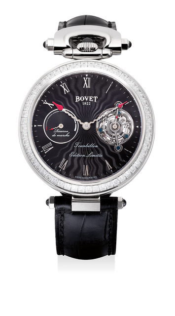 Bovet, 'An impressive and very rare limited edition white gold and diamond-set 7-day tourbillon convertible wristwatch with power reserve, white gold watch chain, certificate of origin and presentation box, numbered 1 of a limited edition of 10 pieces', Circa 2012, Phillips