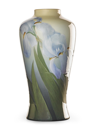 Exceptional and large Iris Glaze vase with purple irises (uncrazed), Cincinnati, OH
