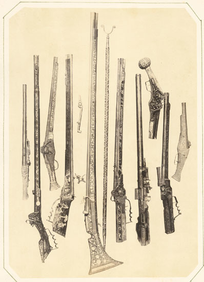 Andreas Groll, 'Gewehrkolben (Pistols and Guns)', 1857/1857, Photography, Albumen print from wet plate negative on original mount, Contemporary Works/Vintage Works