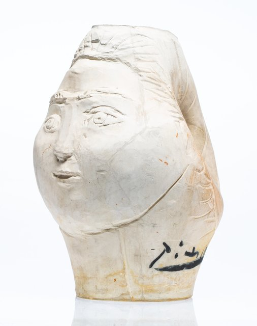 Pablo Picasso, 'Tête de femme couronnée de fleurs', 1954, White earthenware ceramic vase, partially engraved, with white engobe, Heritage Auctions