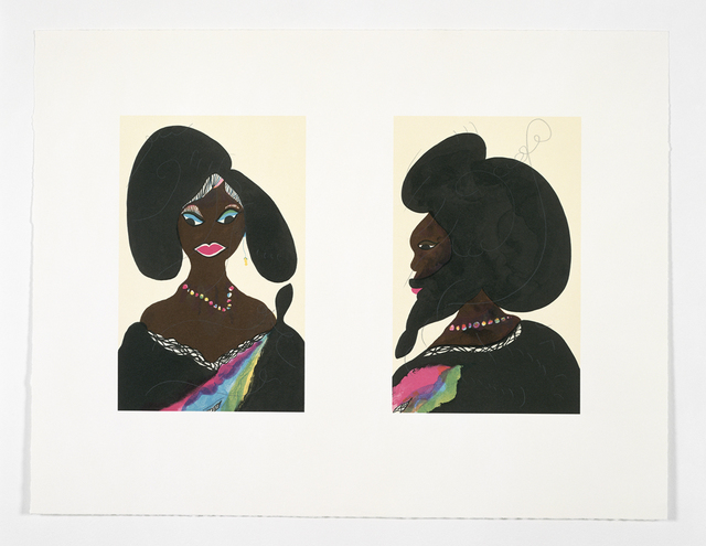 Chris Ofili, 'Afro Harlem Muses', 2005, Print, Lithograph (diptych printed on single sheet of paper), Friends Seminary Benefit Auction