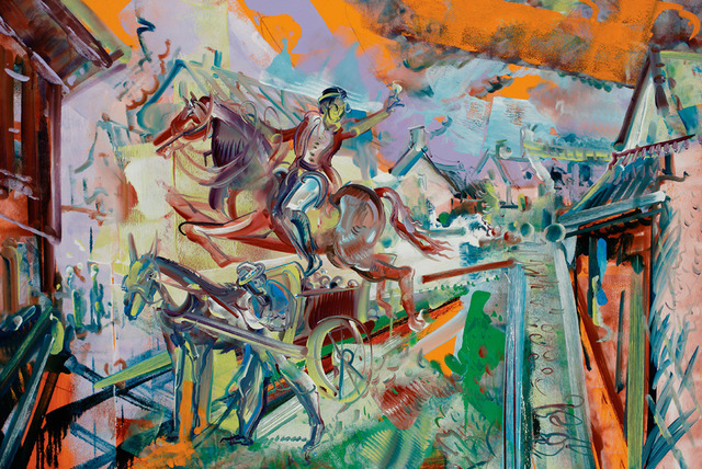 , 'Dick Turpin: Leaping over a Donkey Cart at Edmonton on his Road to York,' 2013, C. Grimaldis Gallery