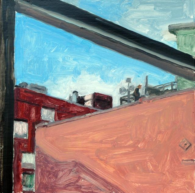 Richard Kirk Mills, 'Chelsea Window: Man on Roof', 2018, Blue Mountain Gallery