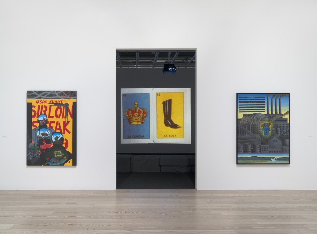 Installation view of David Wojnarowicz: History Keeps Me Awake at Night (Whitney Museum of American Art, New York, July 13-September 30, 2018). From left to right: Queer Basher/Icarus Falling, 1986; Unfinished Film (A Fire in My Belly), 1986-87; Unfinished Film (Mexico, etc… Peter, etc…), 1987; Unfinished Film (with sequence in memory of Peter Hujar), c. 1987; Unfinished Film (Mexico Film Footage II), c. 1988; A Worker, 1986. Photograph by Ron Amstutz