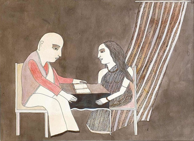 """, 'The Book Reading, Colour Pencil & Watercolour on Paper by Padmashree Artist """"In Stock"""",' 2007, Gallery Kolkata"""