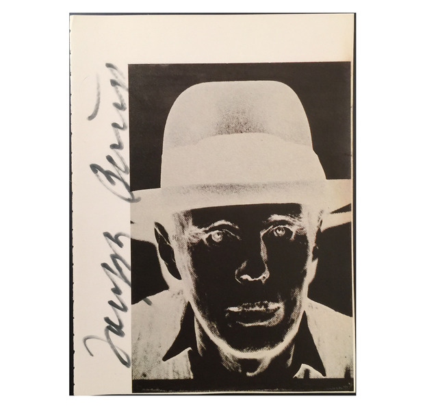 ", '""Joseph Beuys"", Signed by Beuys on Warhol Catalogue Page,' ca. 1980, VINCE fine arts/ephemera"