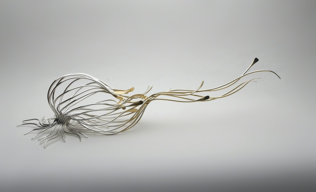 Theresa Nguyen,  Green to Gold sterling silver and silver gilt, cedar wood and green gold leaf 